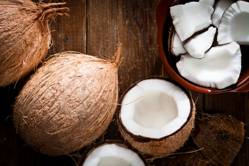 Bowl with organic coconut and fresh coconut
