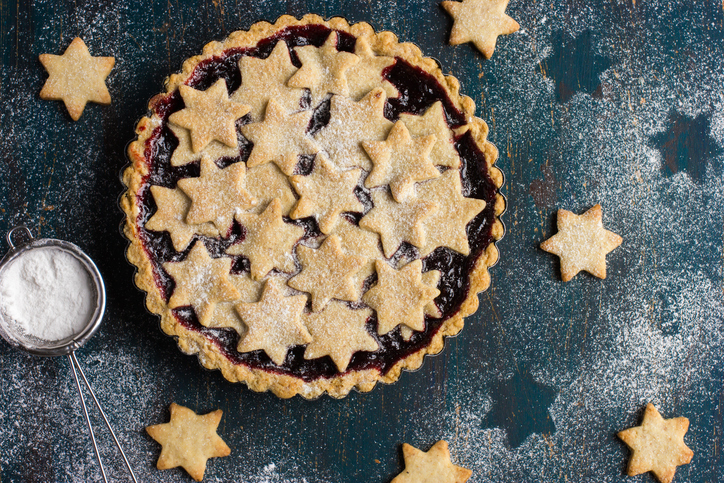 tart with berries jam and cookies