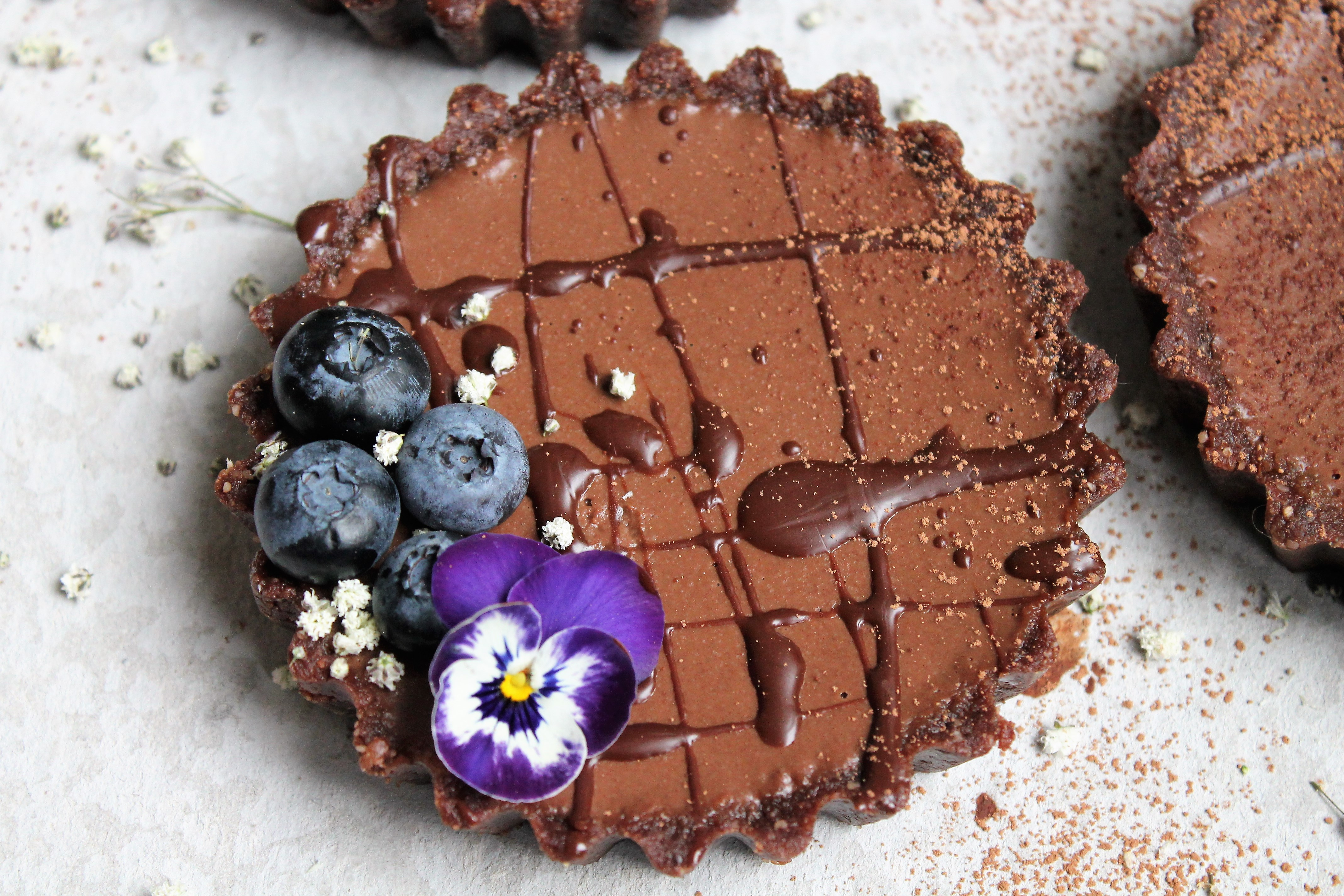 raw vegan chocolate tarts