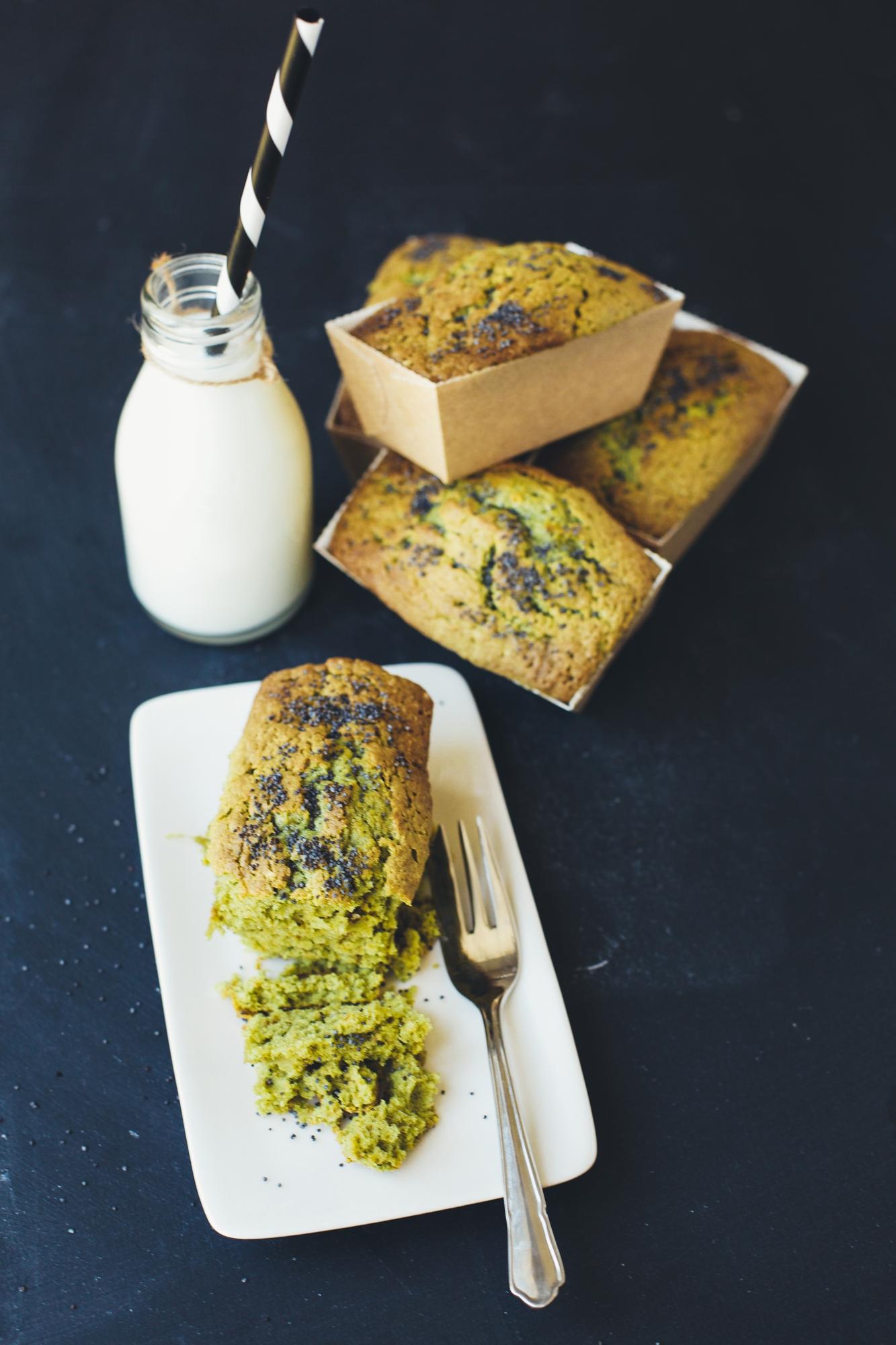 Mini vegan matcha sesame loaves