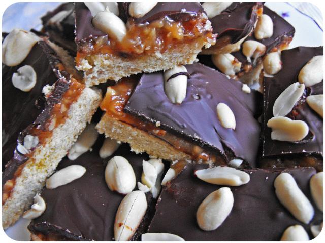 Vegan peanut butter caramel shortbread
