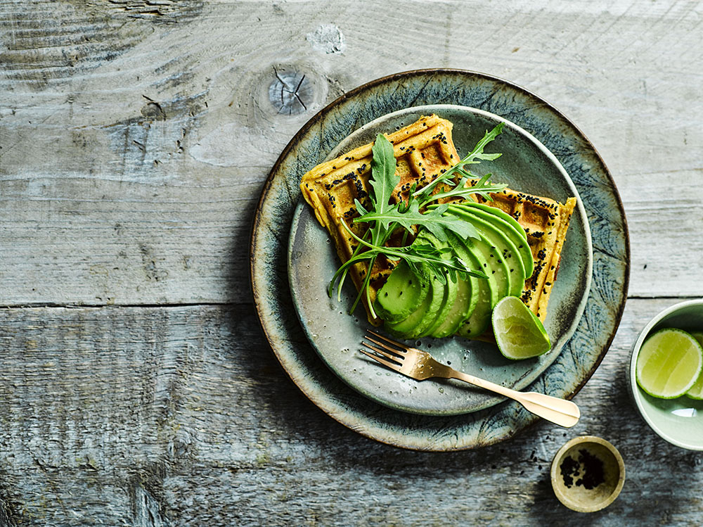Sweet Potato Waffles with Avocado & Rocket