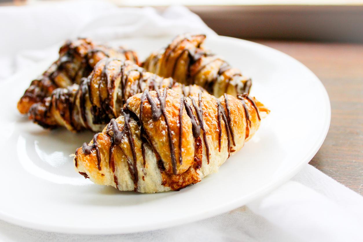 Vegan chocolate hazelnut croissants