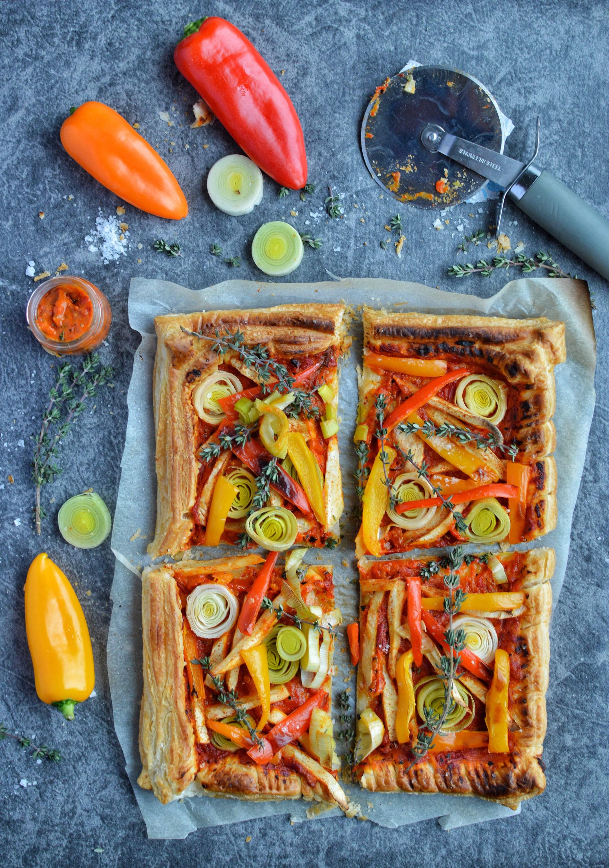 Vegan roasted vegetable tart