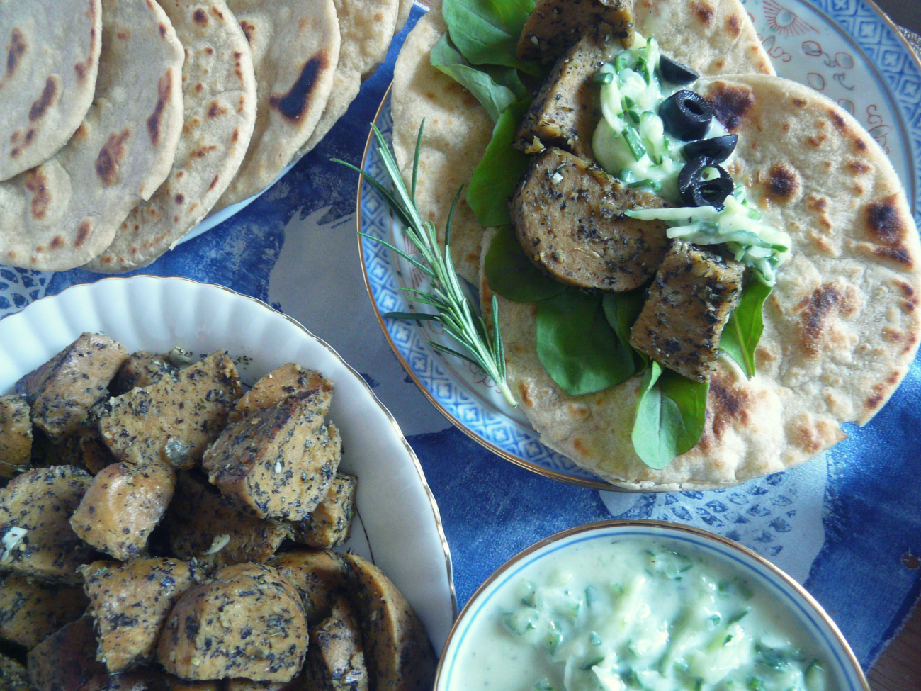 Vegan seitan tacos with homemade flatbreads and cucumber dressing