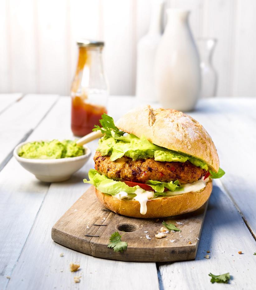 Vegan sweet potato burger with avocado cream