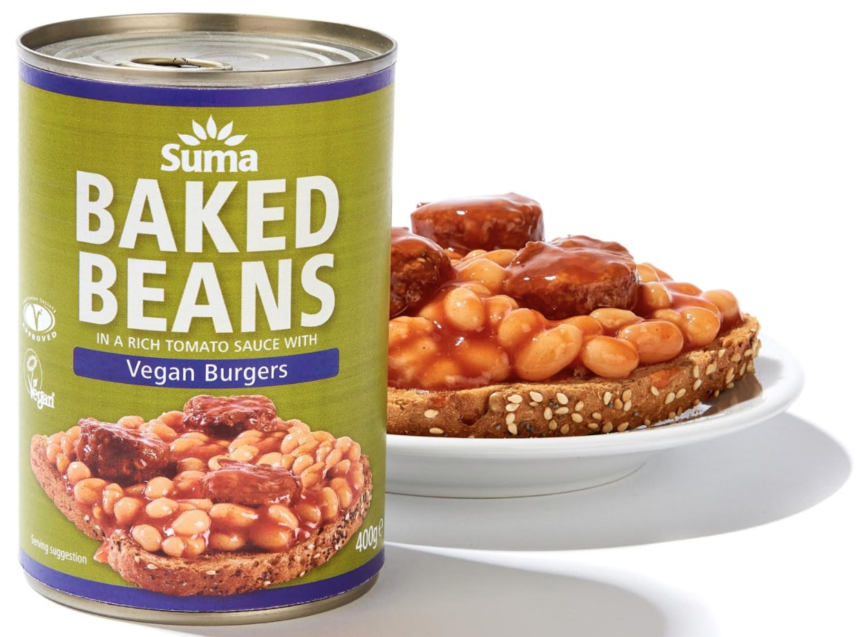 vegan burgers with baked beans