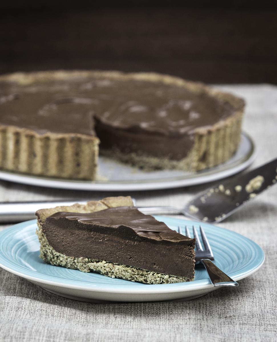 Rich and silky vegan chocolate tart