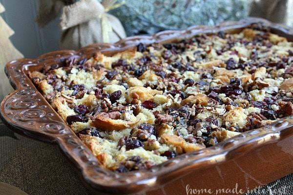 Tray of dairy-free cranberry bread pudding