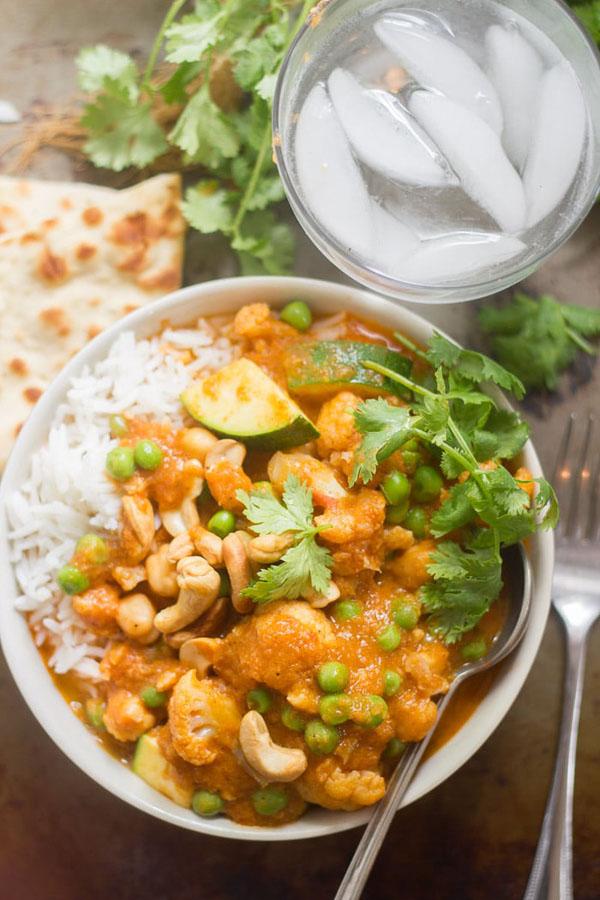 vegan korma, plated with rice