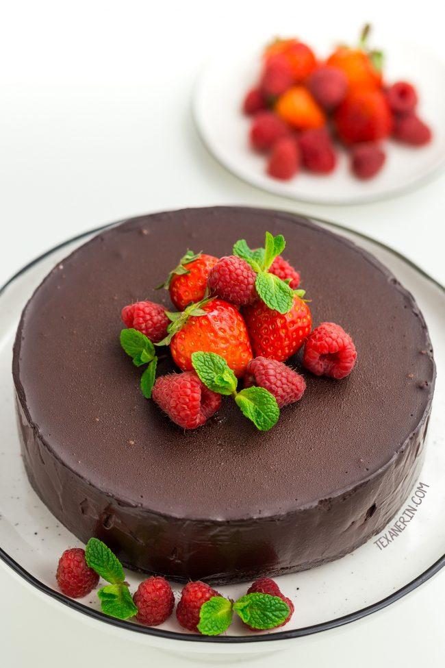 Vegan paleo chocolate cheesecake with strawberries