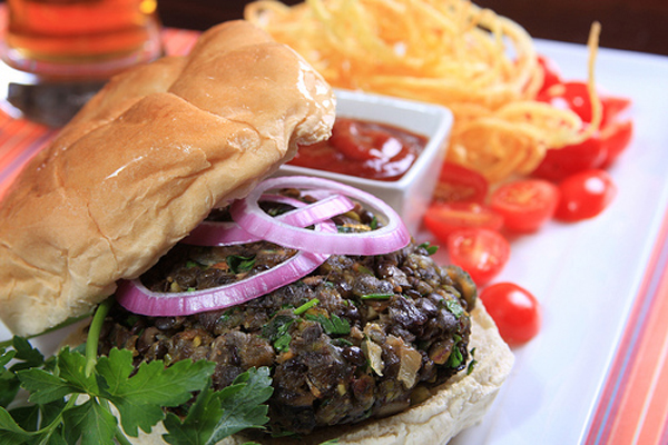 black lentil vegan burger