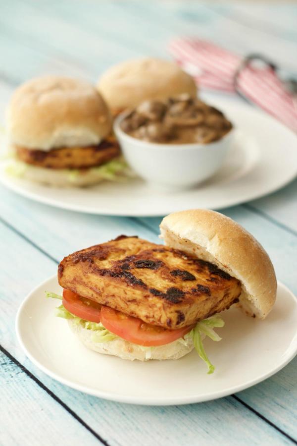 tofu mushroom vegan burger