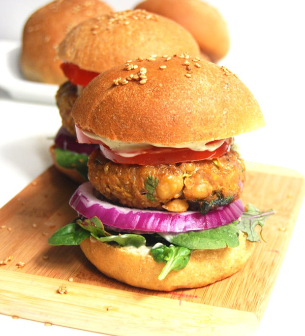 chana masala vegan burger