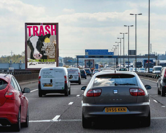 vegan advert on motorway