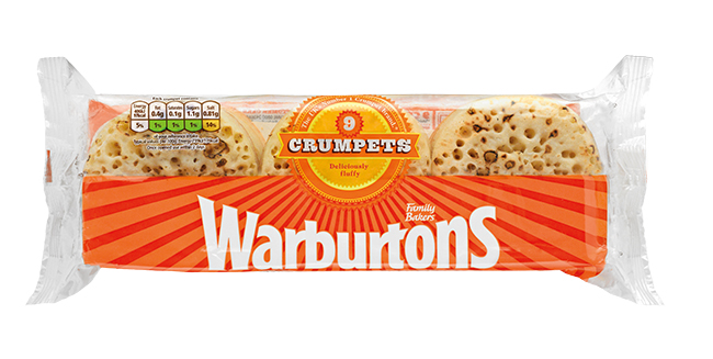 Warburtons crumpets Perfect with sweet or savoury spreads at any time of day! £1.25 for a pack of 9 at most supermarkets