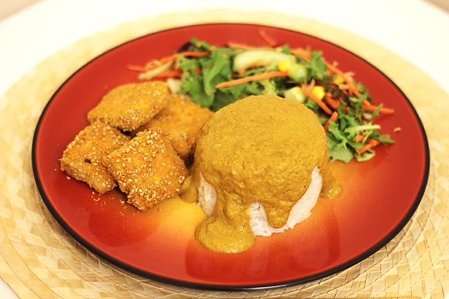 Vegan tofu katsu curry