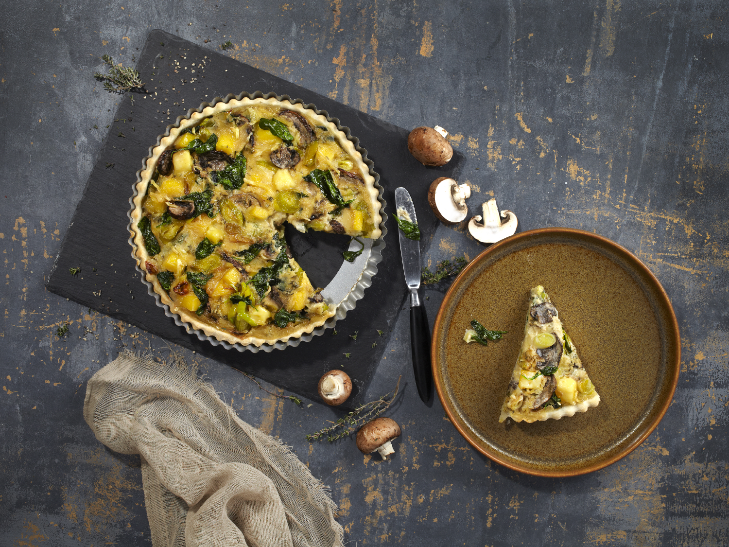 Vegan Quiche with Leeks and Mushrooms