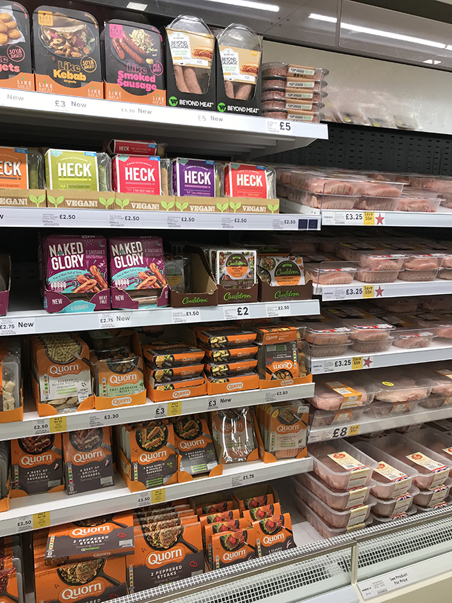 selling vegan products in meat aisle