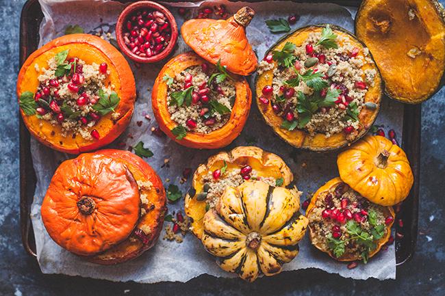 Vegan Quinoa Stuffed Roasted Pumpkins