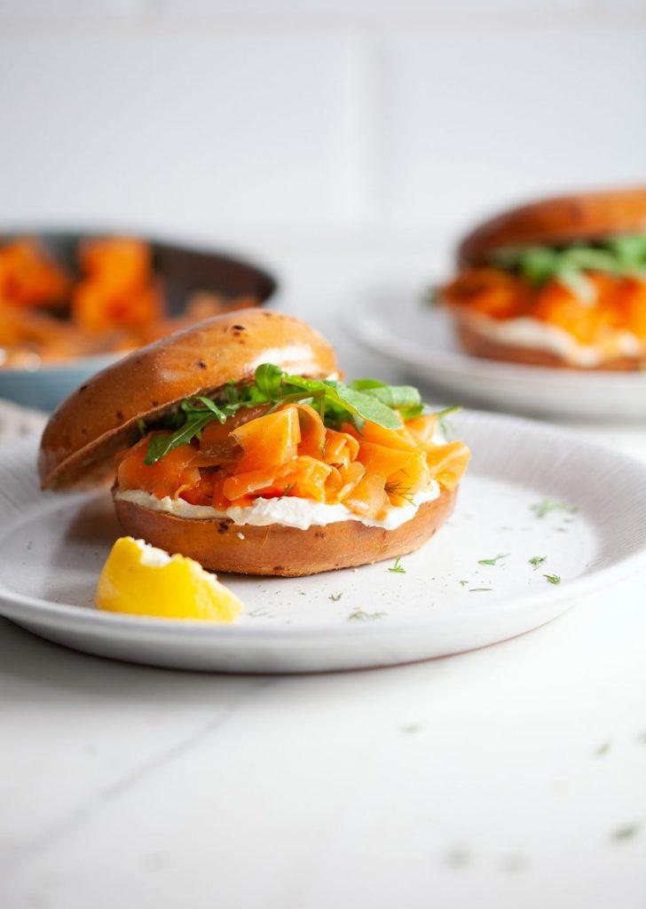 Vegan Carrot 'Salmon' and Cream Cheese Bagel