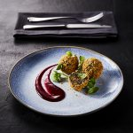 Kale, Chestnut and Mushroom Bonbons with Cherry Sauce