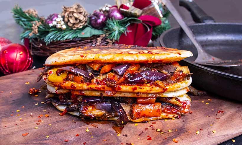 Leftover Christmas Roasted Veggie Focaccia with Pesto and Chilli Jam